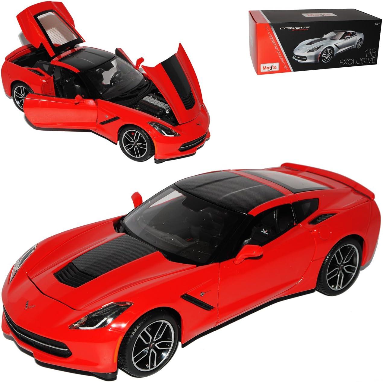 Maisto Chevrolet Chevy Corvette C7 Stingray Coupe Rot Schwarz Z51 Ab 2013 Exclusive Collection 1//18 Modell Auto mit individiuellem Wunschkennzeichen
