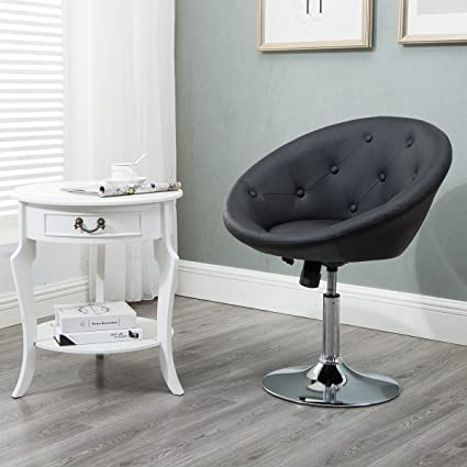amazon com round tufted swivel chair luxury leather contemporary
