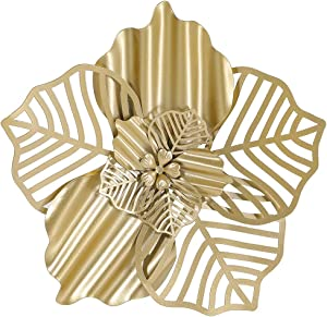 Retrome Gold Metal Flower Wall Art Decor Hanging for Bedroom Living room Bathroom Kitchen (Indoor Outdoor 10.8 inch)