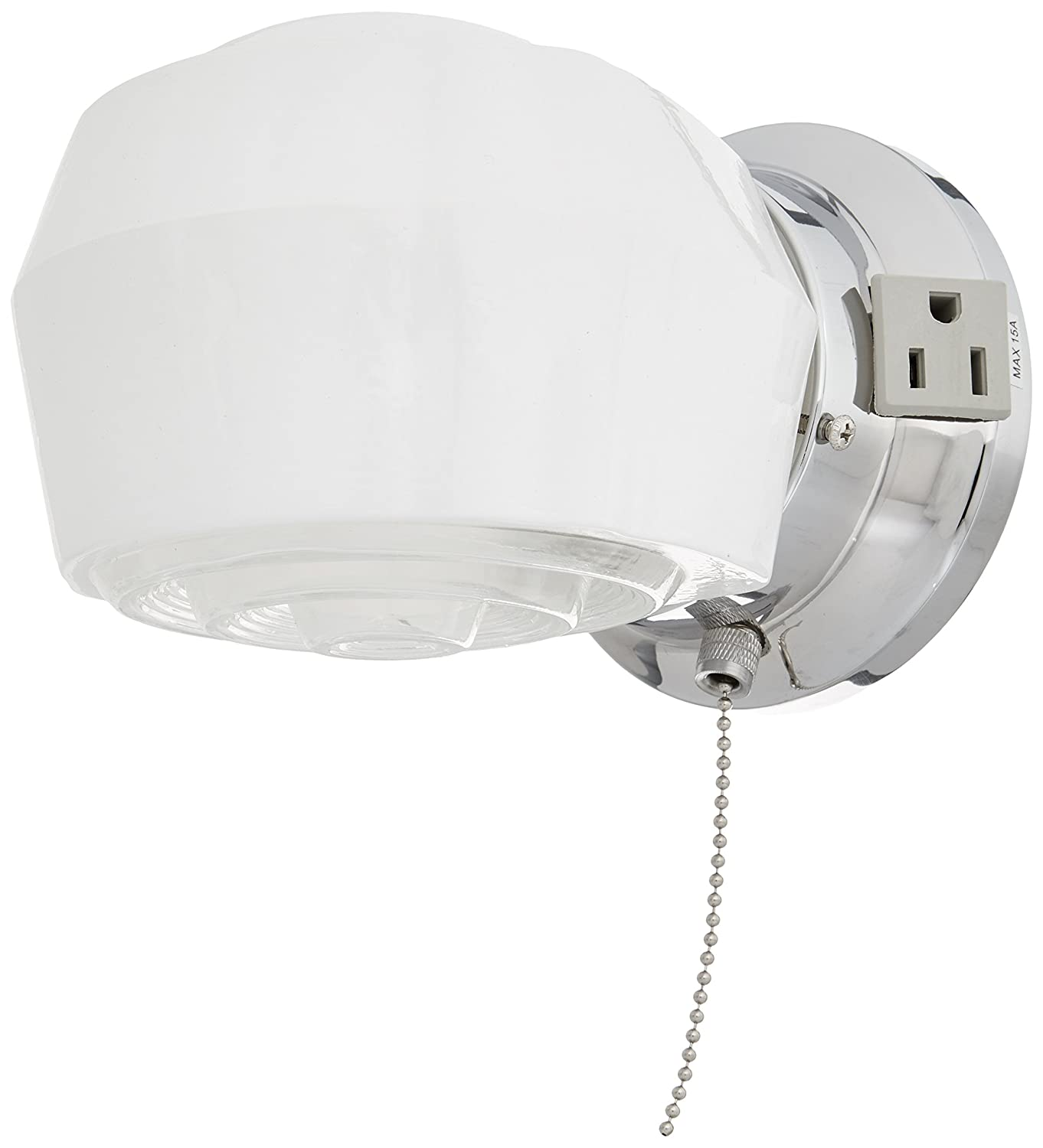 Boston Harbor W39CH01LS-34473L 6890727 Dimmable Wall Light Fixture With Pull Chain, (1) 60/13 W, Medium, A19/Cfl Lamp, Chrome