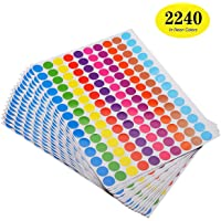 """ONUPGO Pack of 2240 Round Color Coding Labels Circle Dot Stickers, 3/4"""" Dot Labels Sticker, Bright Colors Label"""