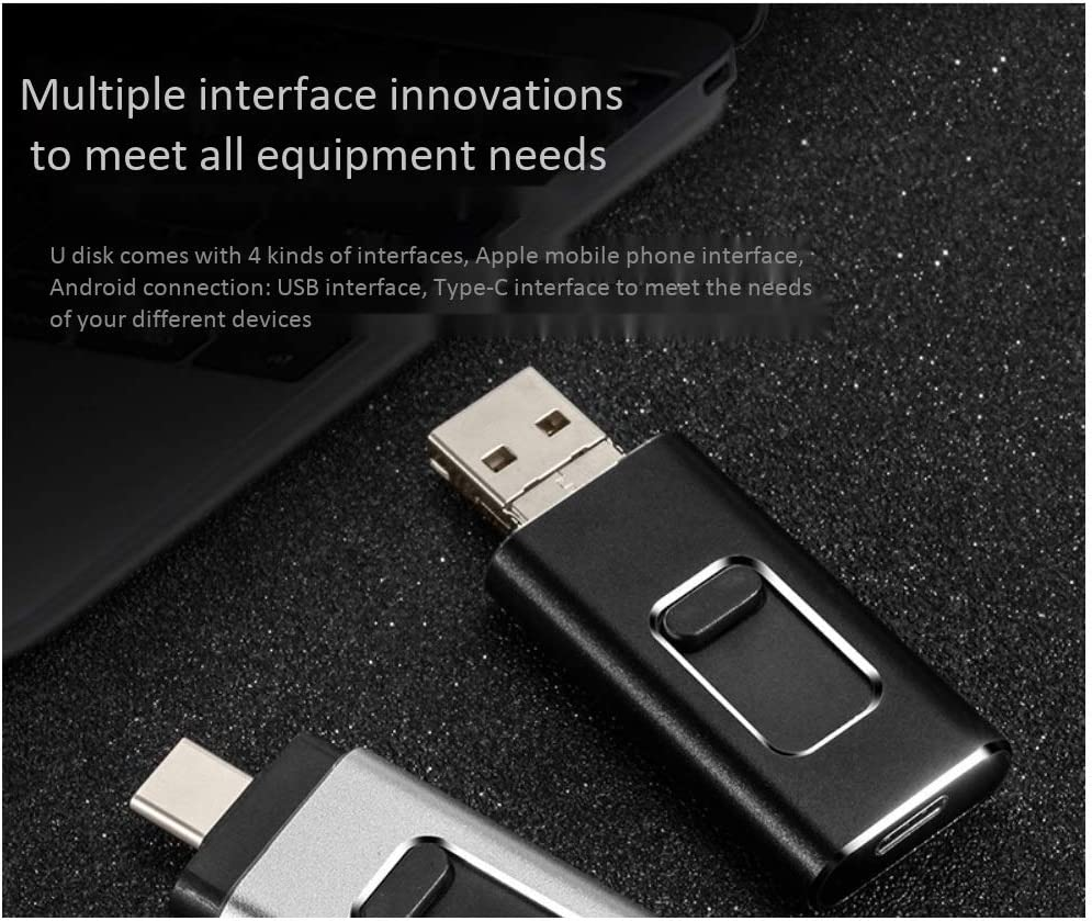 S Black 10-11 Size : 64G Computers Accessories 16G//32G//64G//128G USB 3.0 Flash Drive Push-Pull Thumb Drive Aluminum Alloy Mobile Phone Dual-use Reading Speed Up to 40-90MB