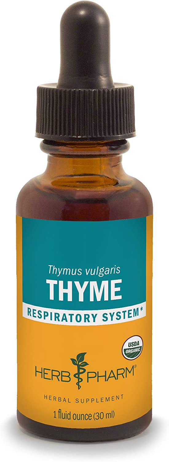 Herb Pharm Certified Organic Thyme Liquid Extract for Respiratory System Support - 1 Ounce (DTHYME01)