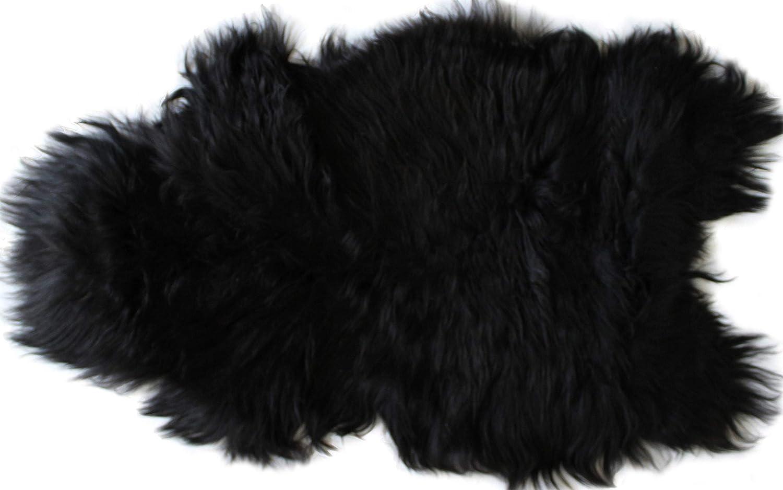 Home Collezione by Salvani Genuine Icelandic Sheepskin Rug Throw (Black Balck)
