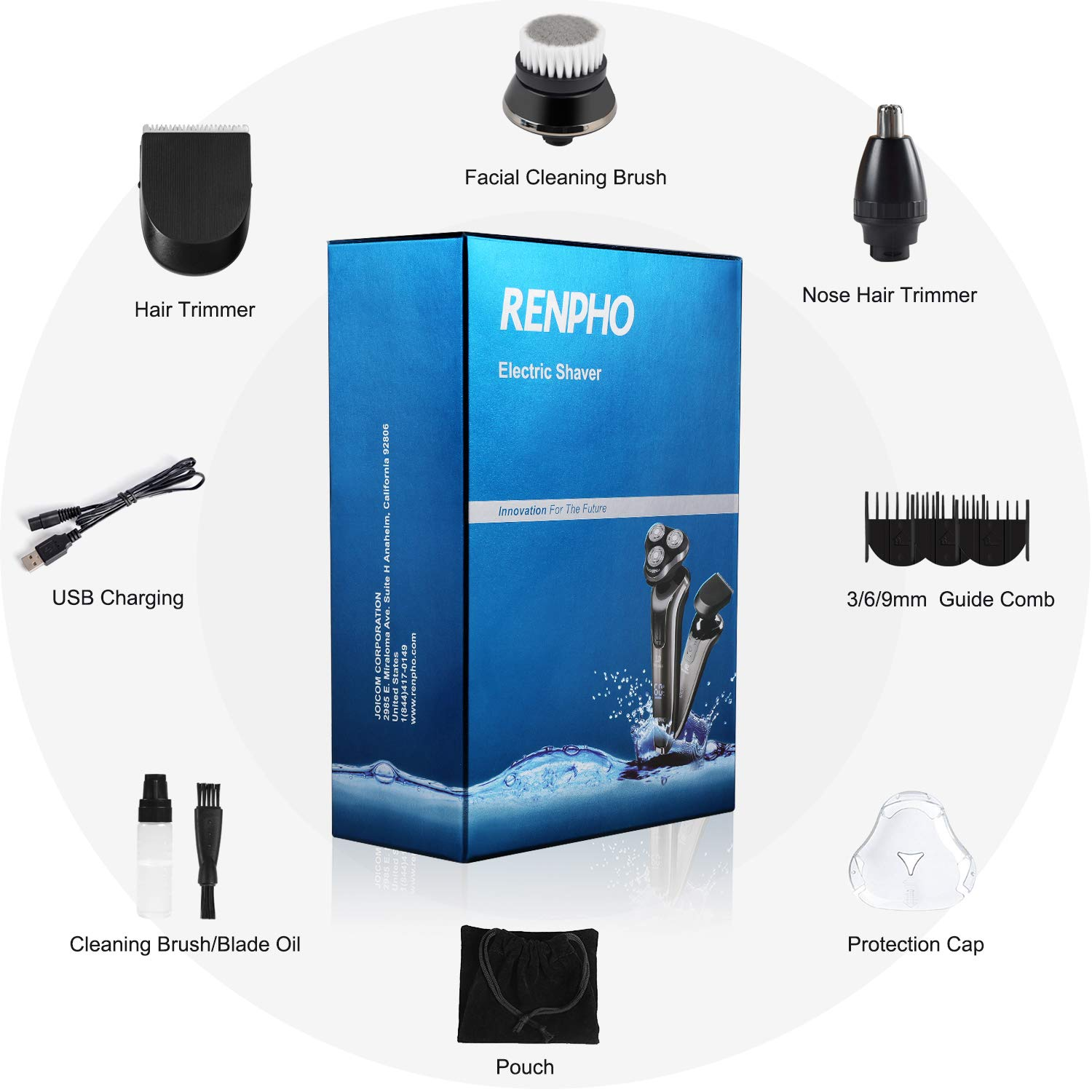 2-In-1 Rotary Razor Electric Shaver for Men, Cordless Wet & Dry Mens Electric Razors Set