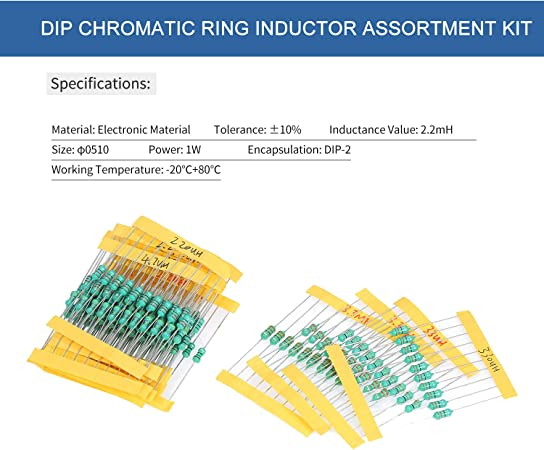 150/μH 1//2,2//3,3 Leepesx 200Pcs /φ0510 DIP Chromatischer Ringinduktor Sortiment Set Toleranz /± 10/% Leistung 1W 20 Induktivit/ät 1//10//100//2,2//22//220//3,3//33//330//4,7//47//470//6,8//680//15
