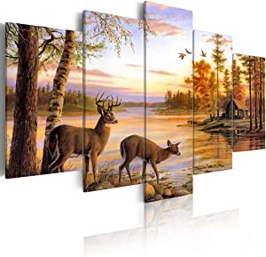 ArtHome520 Golden Autumn Landscape Canvas Print Painting Home Decor Yellow Fall Animal Deer Picture Wall Art for Living Dining Room Modern Framed Fashion Gift 5 Panel (8''x12''x2+8''x16''x2+8''x20''x1)