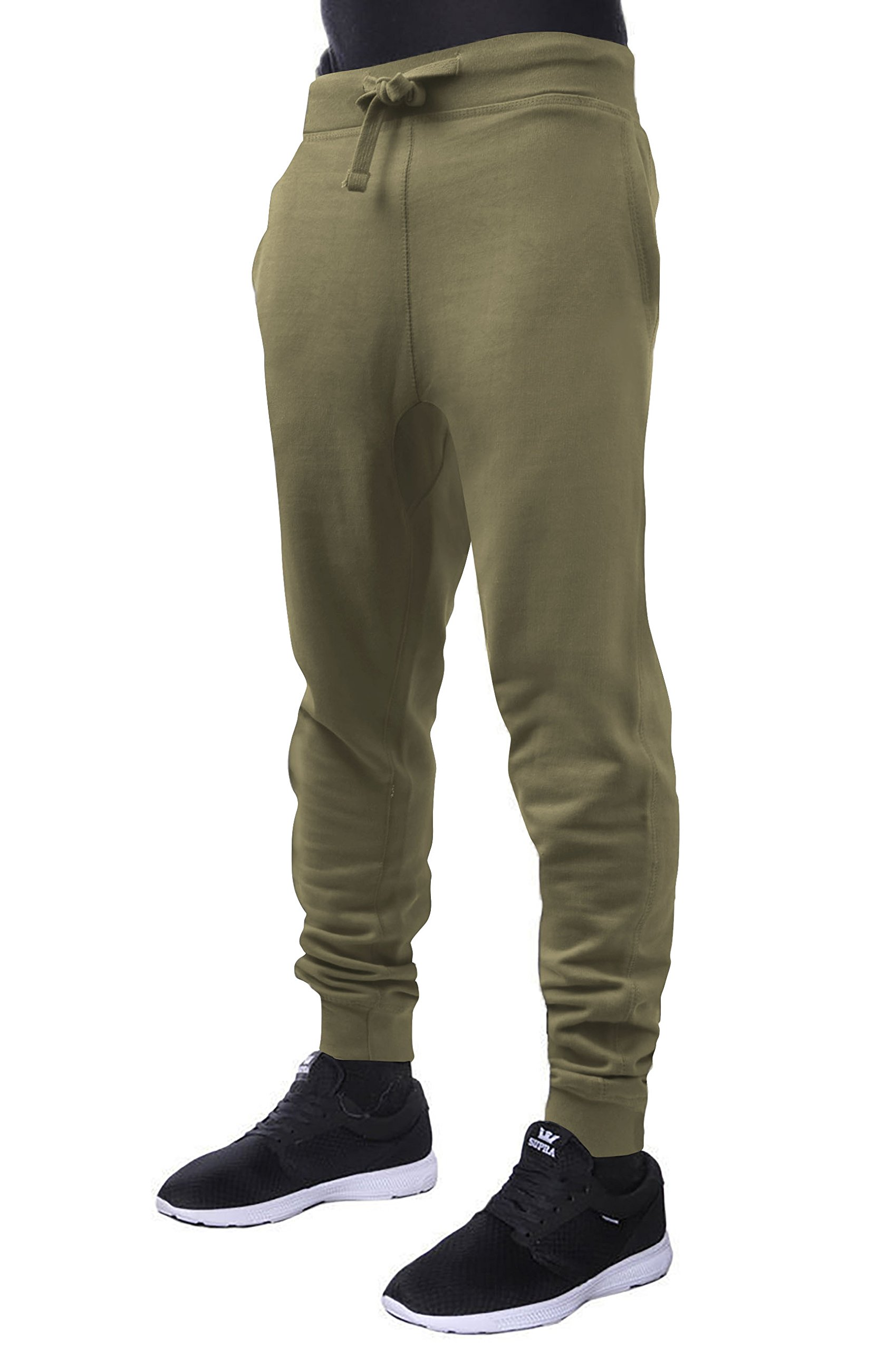 Hat and Beyond Mens Fleece Jogger Pants Elastic Active Basic Urban Harem Slim Fit (Large, Military Green)