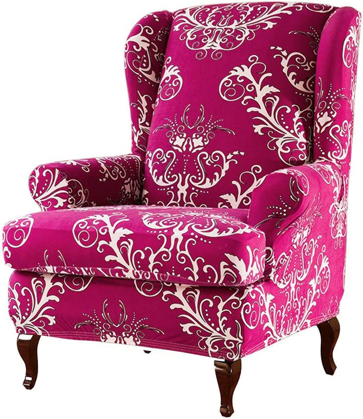 wide smile Floral Wingback Chair Cover 2-Piece Elastic Printed Pattern Stretch Wing Armchair Slipcover Jacquard Spandex Fabric Sofa Covers Furniture Protector(1 Seater,Coffee)