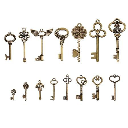 Key Charm//Pendant Tibetan Antique Silver 60mm  5 Charms Accessory DIY Jewellery
