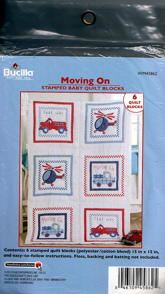 Baby Quilt Blocks.Bucilla Moving On Stamped Baby Quilt Blocks