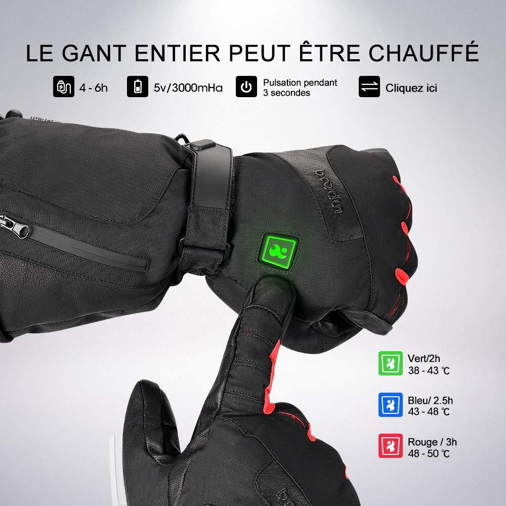 Guanto Moto riscaldante Guanti da sci antivento e impermeabile con funzione di touch screen per il ciclismo trekking Moto Sci alpinismo JOYTUTUS Guanti termici ricaricabili