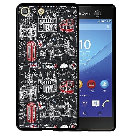 WoowCase Funda Sony Xperia M5, [Sony Xperia M5 ] Funda Silicona Gel Flexible Simbolos Londres Inglaterra, Carcasa Case TPU Silicona - Negro