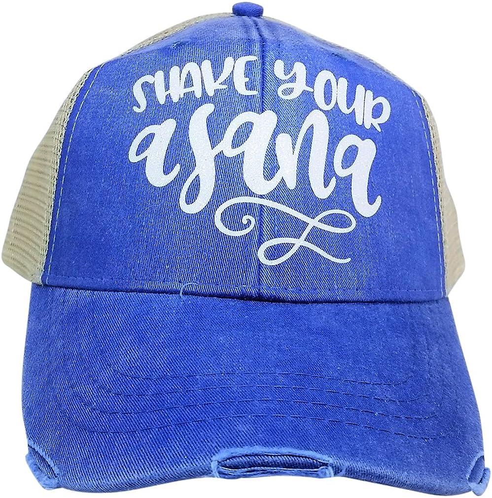 Yoga Shake Your Asana Bling Trucker Style Baseball Cap Loaded Lids Womens