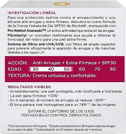 L'Oréal Paris Dermo Expertise Revitalift Crema Hidratante de Día Anti-Arrugas, con Pro-Retinol y Protección Solar SPF30 - 50 ml
