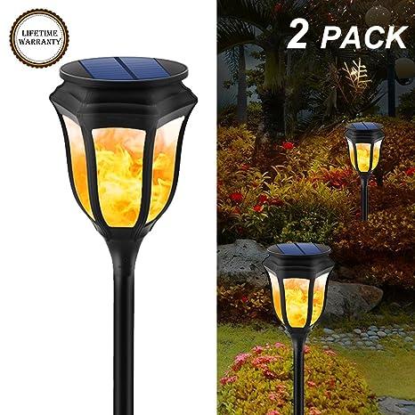 yiiyaa Lámpara de Césped LED de Energía Solar Iluminación Exterior Luces Farola de Paisaje Forma Antorcha ...