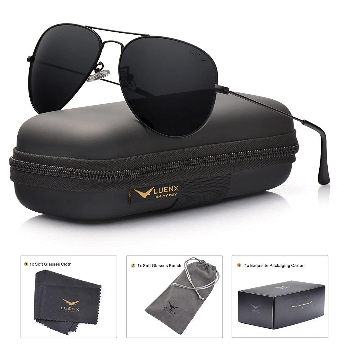 LUENX Aviator Sunglasses Polarized Mens Womens with Case - UV 400 Protection 60mm CA2610-13
