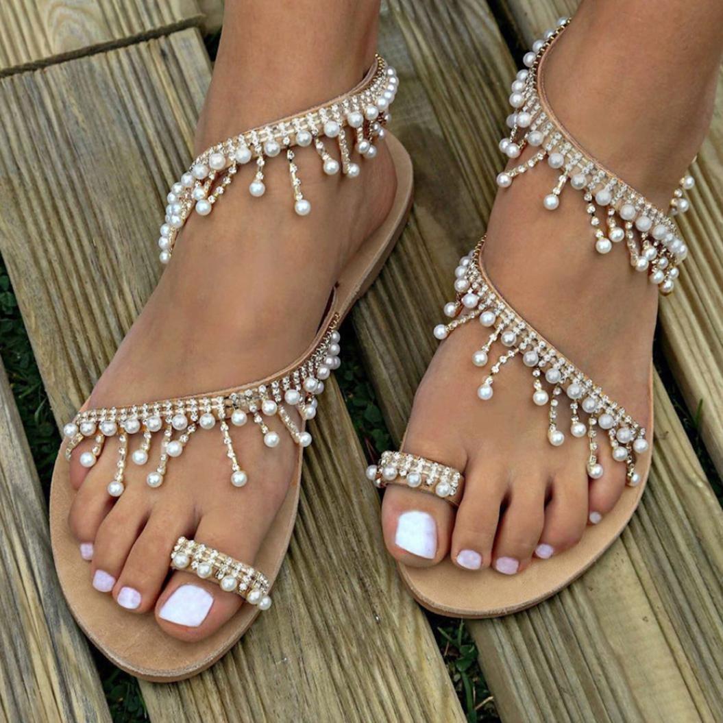 haoricu Clearance Women's Wedding Sandals Pearl Flats Beaded Bohemian Dress Flip-Flop Gladiator Shoes Larger Size