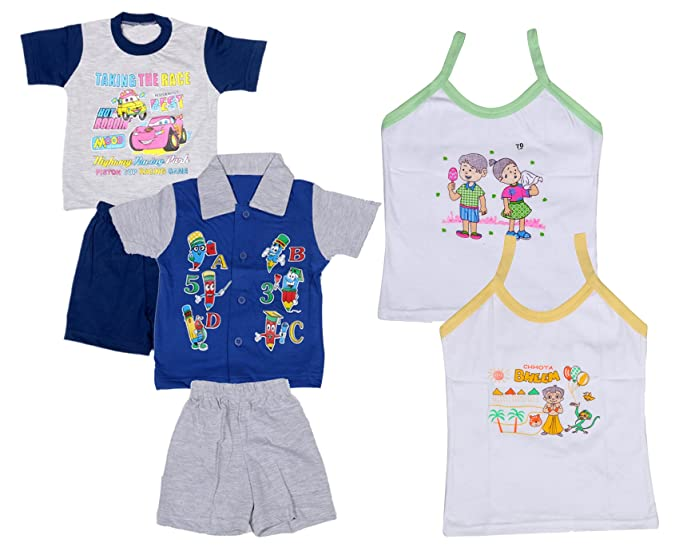 62a2fc96 IndiWeaves Boys Pure Cotton Baba Suit (T-Shirt and Bottom) (Pack of 2)-  (Assorted Color/Print) and Girls Pure Cotton Cartoon Print Slips/Vests  (Pack of ...