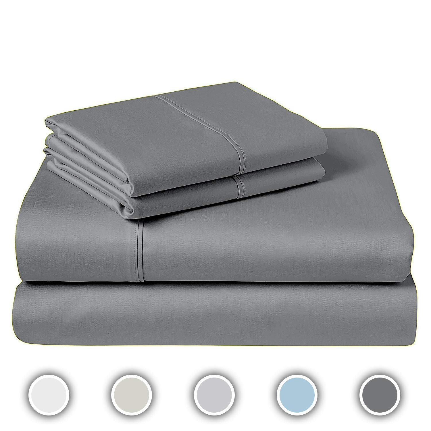 COZERI 600 Thread Count Luxury Sheet Set, 100% Cotton, Breathable, Soft & Silky Sateen Weave, Fits Mattress Upto 17'' Deep Pocket, 4 Piece Bed Sheets Set - (King, Dark Gray) by COZERI