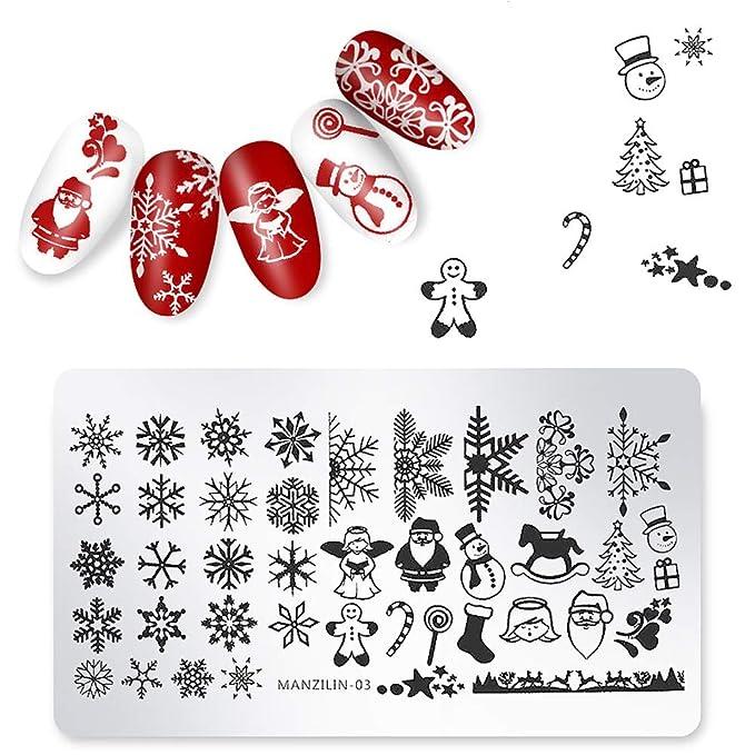 Plato de estampado navideño para decoración de uñas, diseño de salón de manicura: Amazon.es: Belleza