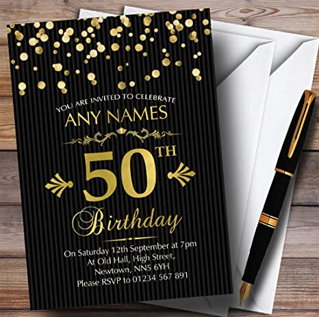 Image Unavailable Not Available For Color Gold Confetti Black Striped 50th Personalized Birthday Party Invitations