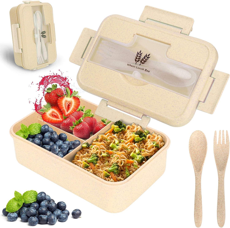 Sinwind Lunch Box, Bento Box, Bento Box para niños, Fiambrera de Seguridad de Trigo Natural de 1200 ml, Separador | el tamaño Alimentos (Beige)