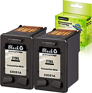 GREENCYCLE 2 Pack Remanufactured C9351A 21 21XL Black Ink Cartridge Compatible for HP Deskjet D1430 D1445 D1455 D1460 D1468 D1470 D1520(Show Ink Level)