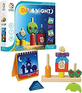SmartGames Day & Night Wooden Cognitive Skill-Building Puzzle Game Featuring 48 Playful Challenges for Ages 2+