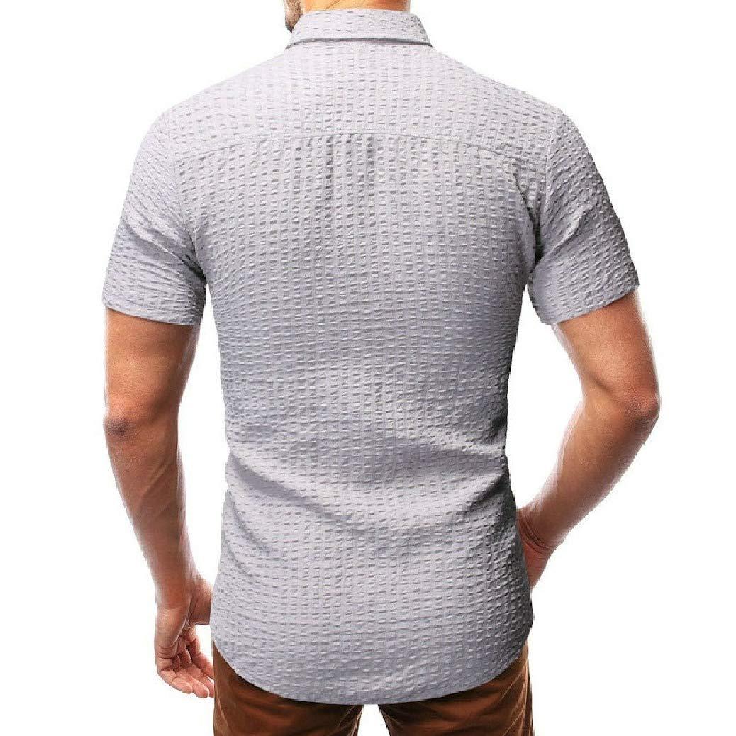 Fieer Mens Summer Lapel Short Sleeve Drape Leisure Collar Shirt