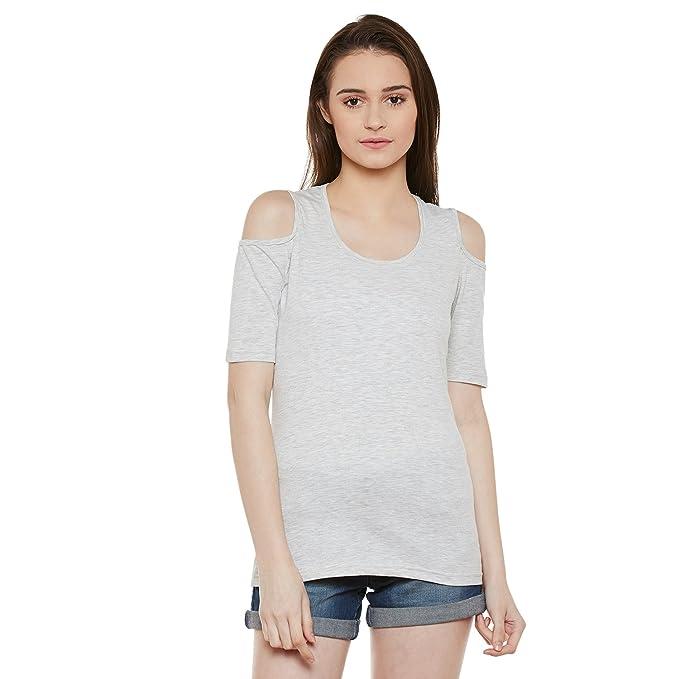 3380af8118139 Skidlers Women s Cold Shoudler Sleeves Cotton Tops Tshirts Shirts    Skidlers Women s short Sleeves Cotton Tops Tshirts Shirts with cold shoulder  cuts ...