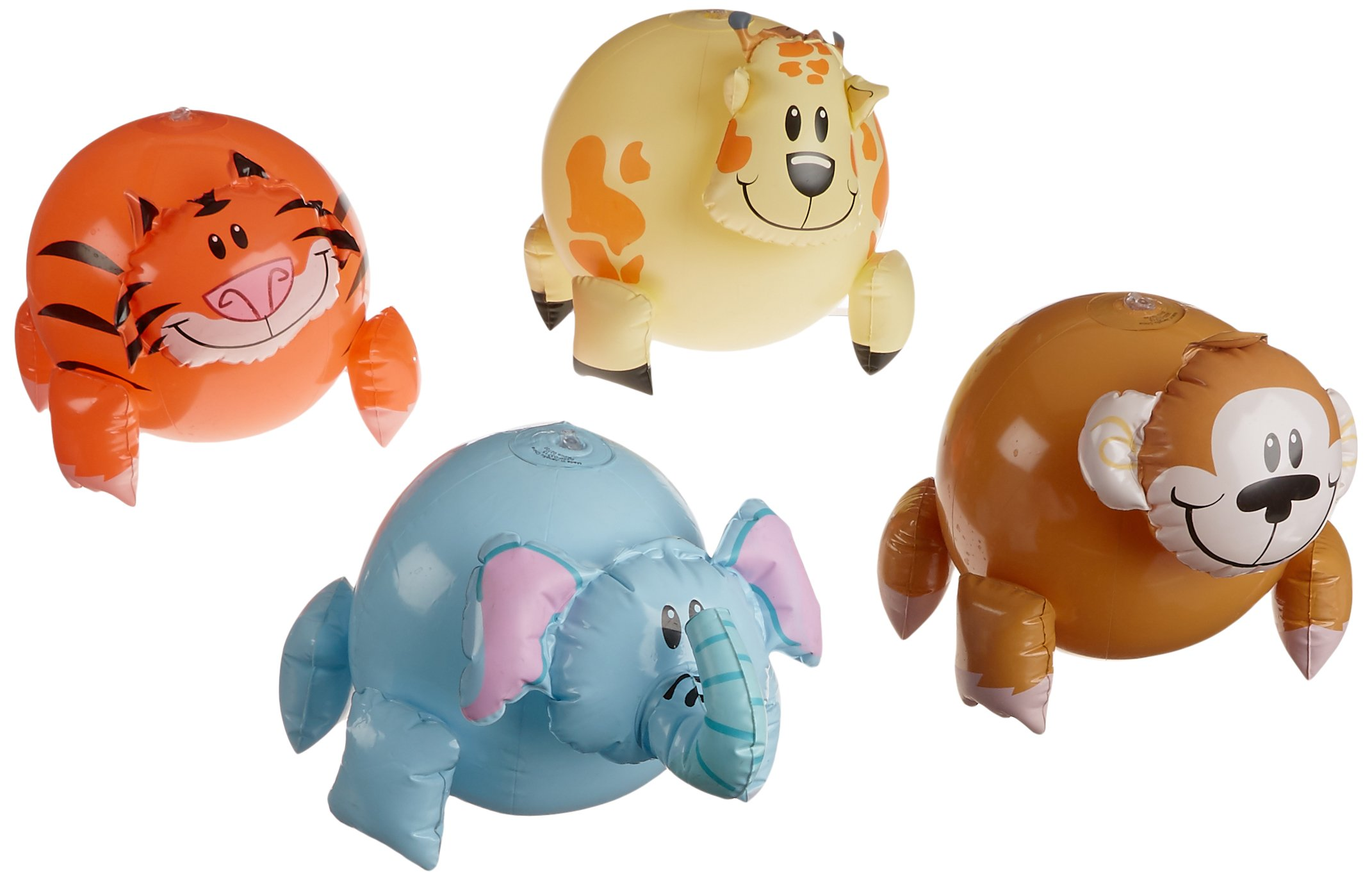 Rhode Island Novelty Inflatable Jungle Animal Shaped Beach Balls (12 Pack), Assorted Colors