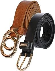 Bebe Womens Designer Fashion Waist Belts - 2 Pack