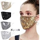Woplagyreat Fashion Sequin Face Mask with Adjustable Ear Loops for Protection - Washable Reusable Cover