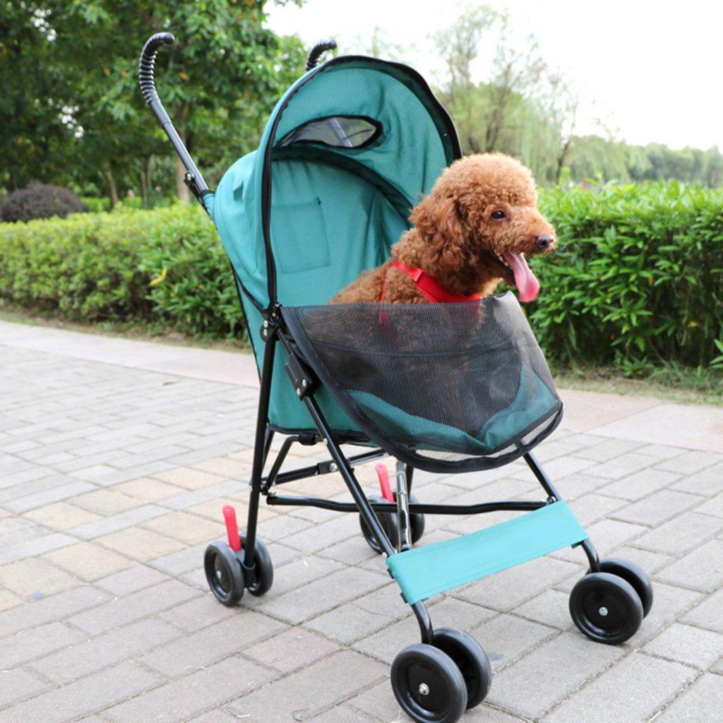 Green Four Wheel Pet Stroller Dog Cat Portable Folding Travel Carriage Cart Flexible Easy Walk For Jogger Jogging Travel. Cacoffay