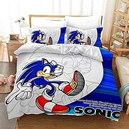 135 x 200 cm A01 XWXBB Sonic Anime Parure de lit pour Enfant avec Housse de Couette et taie doreiller Microfibre 3D Digital Print 3 pi/èces SNK5, Single 135 x 200 cm