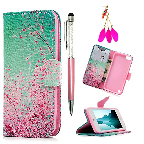 on sale 801ea 5d4e7 MOLLYCOOCLE iPod Touch 6 Case, Cherry Blossoms Pattern PU Leather Wallet  Flip Case with Credit Card ID Holders TPU Soft Bumper Ultra Slim Purse ...