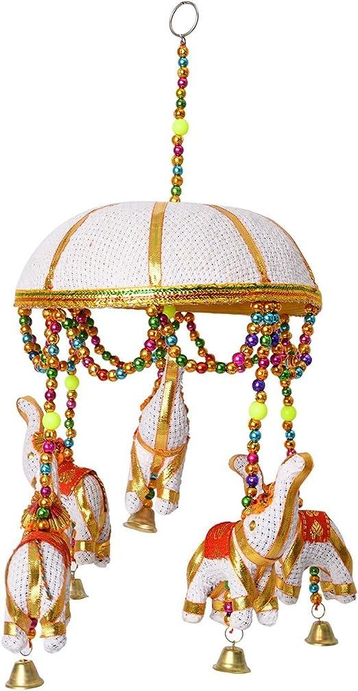 tela azul Decoraci/ón colgante de la India con un elefante de tela