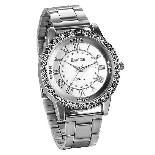 JewelryWe Reloj de Hombre Caballero Clasico Reloj de Acero Inoxidable Retro Vintage Números Romanos, Plateado Reloj para Hombre, Buen Regalo Día del Padre: ...