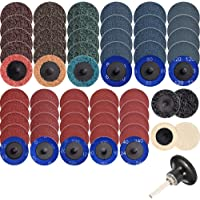 YaeCCC 10 Pcs 2 Quick Change Roloc Strip Discs Abrasive Grinders with 1 Pc 1//4 Holder for Rust//Paint//Flaking Materials Removal