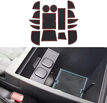 16pcs Cup Holder Liner Custom Fit for Mazda CX-5 CX5 2013 2014 Door Slot Pad Center Console Mats Interior Accessories Anti-Dust Anti-Slip Red