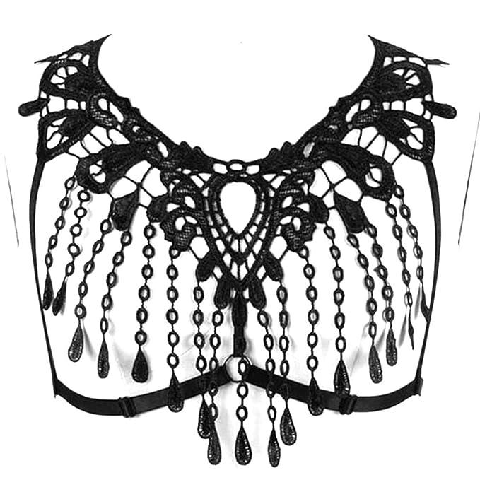 Women Lace Body Harness Plus Size Bra Strappy Gothic Bralette Black