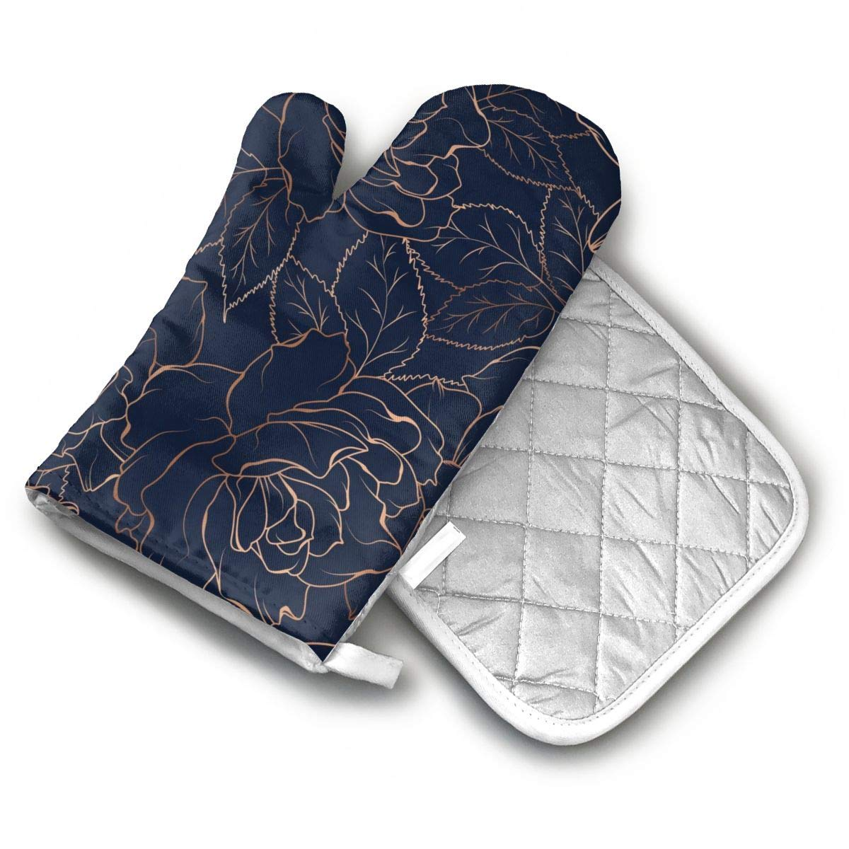 CA6ZZ.CO.LTD Non-Slip Oven Mitt Set Gold Rose in Navy Blue Pattern Heat Resistant Oven Mitts & Pot Holders for Kitchen,Oven Gloves for BBQ,Baking, Grilling,Handle Hot Oven/Cooking Items Safely