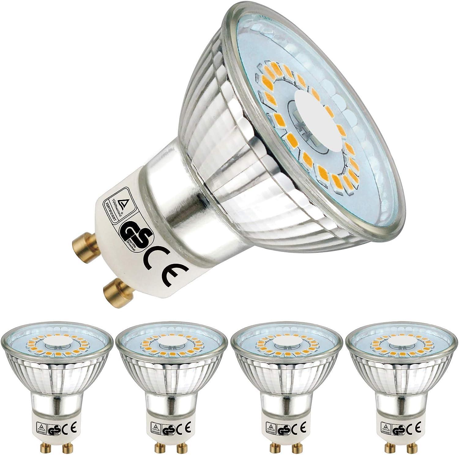 EACLL Bombillas LED GU10 2700K Blanco Cálido 5W 535 Lúmenes Equivalente 50W Halógena. Sin Estroboscópica, 120 ° Luz Blanca Cálida Spotlight LED, 4 Pack
