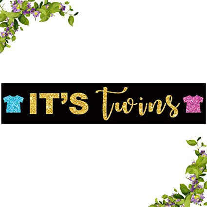 Boy /& Girl Twins Banner for Baby Shower or Gender Reveal Party Decorations