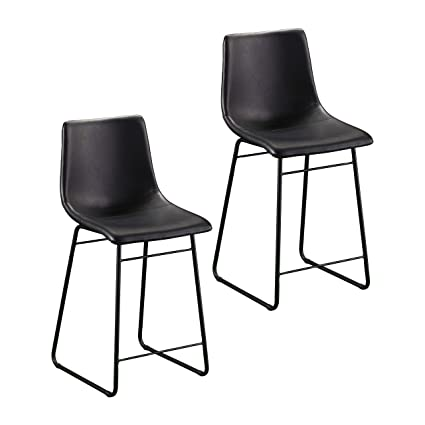 Enjoyable Amazon Com Furniture Hotspot 24 Black Counter Stools Set Ibusinesslaw Wood Chair Design Ideas Ibusinesslaworg