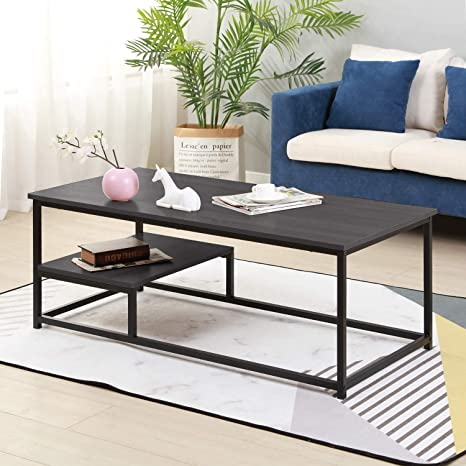 Soges Coffee Table with Shevles 47.2 inches Sofa Table Console Table for  Home, Office, Living Room Tables, Dark Brown DX-M53HY