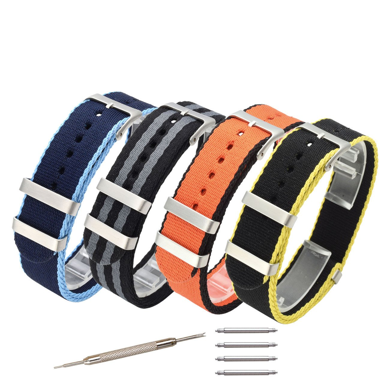 Top Plaza 20mm NATO Nylon Watch Band, Quick Release Premium Ballistic Nylon Straps, Replacement Wristband with Adjustable Metal Clasp for Men Women - Pack of 4#1