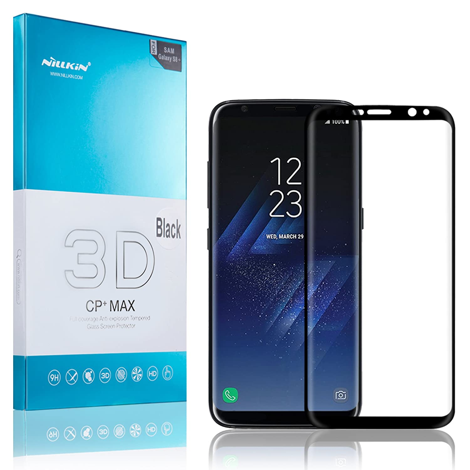 Galaxy S8 Plus Screen Protector, Nillkin [CP+ MAX Series] [3D Curved  Edge-Full Coverage] Oleophobic Coating Tempered Glass Screen Protector for