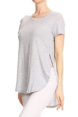 7d53029cac2 Vialumi Women's Regular Size Solid Side Slits Hi-Lo Tunic Top Heathered  Grey Small